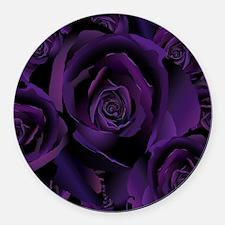 Black Purple Rose Round Car Magnet