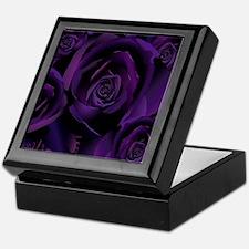 Black Purple Rose Keepsake Box