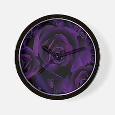 Black Purple Rose Wall Clock