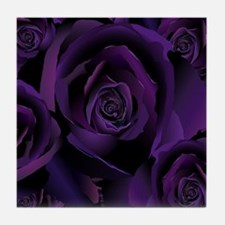 Black Purple Rose Tile Coaster