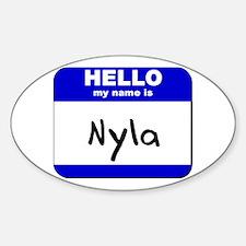 hello my name is nyla Oval Decal