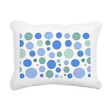 Blue and Green Dots Rectangular Canvas Pillow
