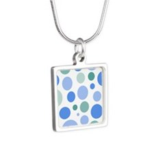Blue and Green Dots Silver Square Necklace