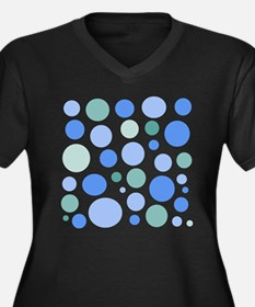 Blue and Green Dots Women's Plus Size V-Neck Dark