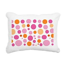 Pink and Orange Dots Rectangular Canvas Pillow