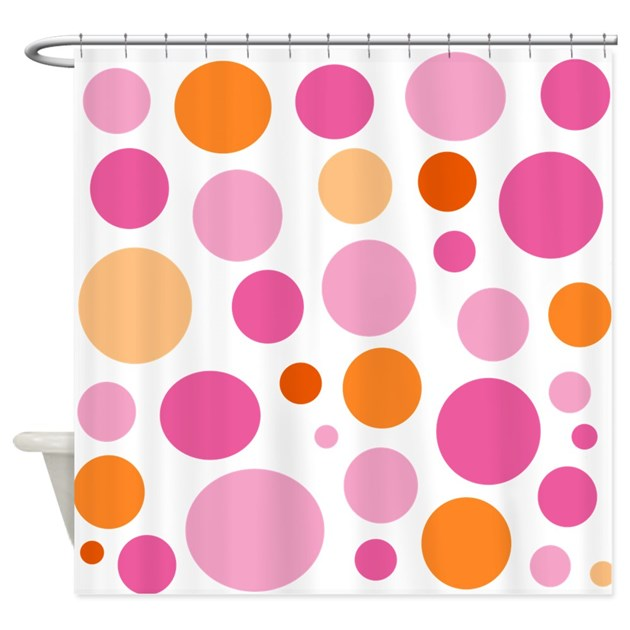Pink And Orange Dots Shower Curtain By MegaShark