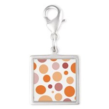 Pink and Orange Dots Silver Square Charm