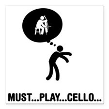 "Cello-Player-A Square Car Magnet 3"" x 3"""