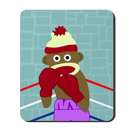 Sock Monkey Boxing Gloves Mousepad