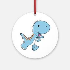 Running Baby Dino Round Ornament