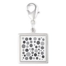 50 Shades of Grey Dots Silver Square Charm