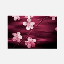 Cherry Blossom Maroon Rectangle Magnet