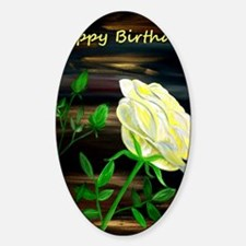 Yellow Rose Birthday Card Sticker (Oval)