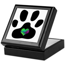Rainbow Heart Pawprint Keepsake Box