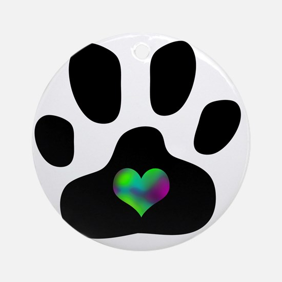 Rainbow Heart Pawprint Round Ornament