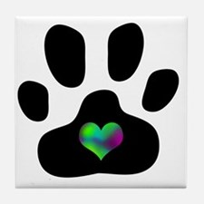 Rainbow Heart Pawprint Tile Coaster
