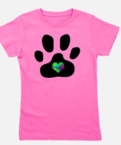 Rainbow Heart Pawprint Girl's Tee