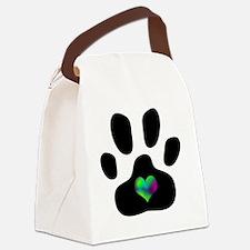 Rainbow Heart Pawprint Canvas Lunch Bag