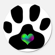 Rainbow Heart Pawprint Round Car Magnet