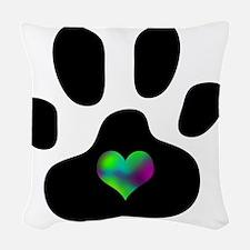 Rainbow Heart Pawprint Woven Throw Pillow