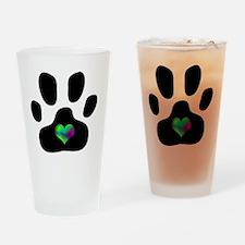 Rainbow Heart Pawprint Drinking Glass