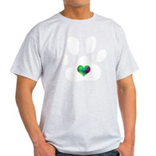 Rainbow Heart Pawprint T-Shirt