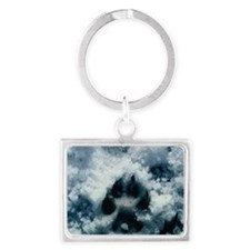 """Wolf  Paw  Print  In  The  Sno Landscape Keychain"