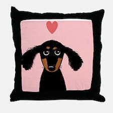 doxiecoasterheart Throw Pillow