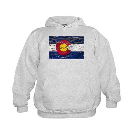 Colorado retro wash flag Kids Hoodie