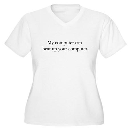 Computer Fights Women's Plus Size V-Neck T-Shirt