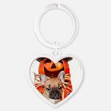 Halloween French Bulldogs Heart Keychain