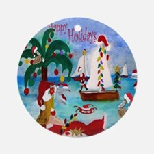 Christmas Boat Parade Round Ornament