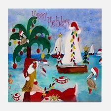 Christmas Boat Parade Tile Coaster