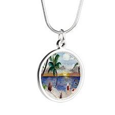 Santas Beach Break Silver Round Necklace