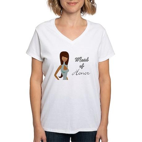 Light Blue Maid of Honor Women's V-Neck T-Shirt