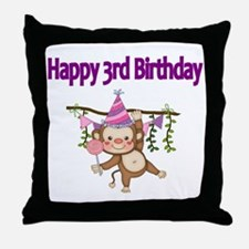 HAPPY 3rd  BIRTHDAY WITH CUTE MONKEY Throw Pillow