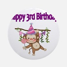 HAPPY 3rd  BIRTHDAY WITH CUTE MONKE Round Ornament