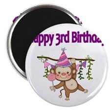 HAPPY 3rd  BIRTHDAY WITH CUTE MONKEY Magnet
