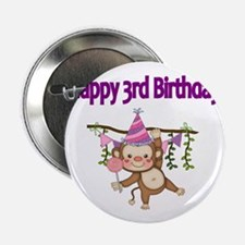 "HAPPY 3rd  BIRTHDAY WITH CUTE MONKEY 2.25"" Button"