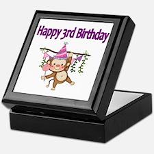 HAPPY 3rd  BIRTHDAY WITH CUTE MONKEY Keepsake Box