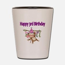 HAPPY 3rd  BIRTHDAY WITH CUTE MONKEY Shot Glass
