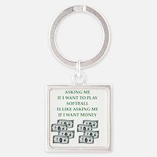 softball Square Keychain