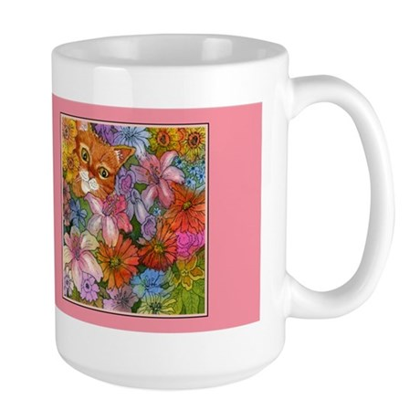 Cat Among the Flowers Large Mug