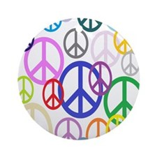 Peace Sign Collage FF Round Ornament