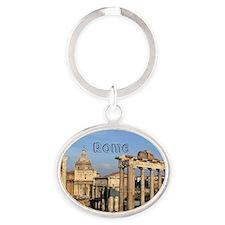 Rome_5.5x7.5_FlatCard_RomanForum Oval Keychain