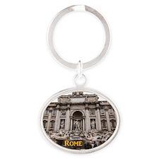 Rome_11x9_TreviFountain Oval Keychain