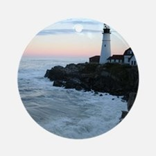 Portland Head Lighthouse at Sunset Round Ornament