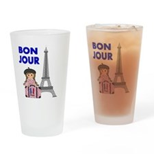 BON JOUR WITH LITTLE GIRL IN PARIS Drinking Glass