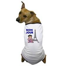 BON JOUR WITH LITTLE GIRL IN PARIS Dog T-Shirt