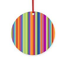 Beach Stripe Canvas Pillow Round Ornament
